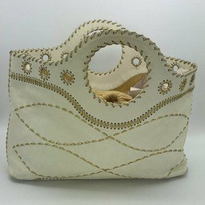 Michael Kors Collection Cream & Gold Leather Bag